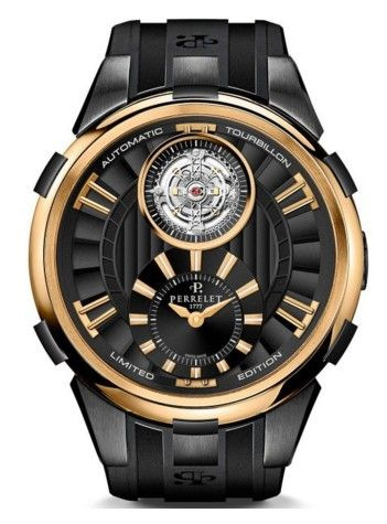 REVIEW! Perrelet Automatic Tourbillon Mens Limited Edition Rose Gold Watch A3035/1