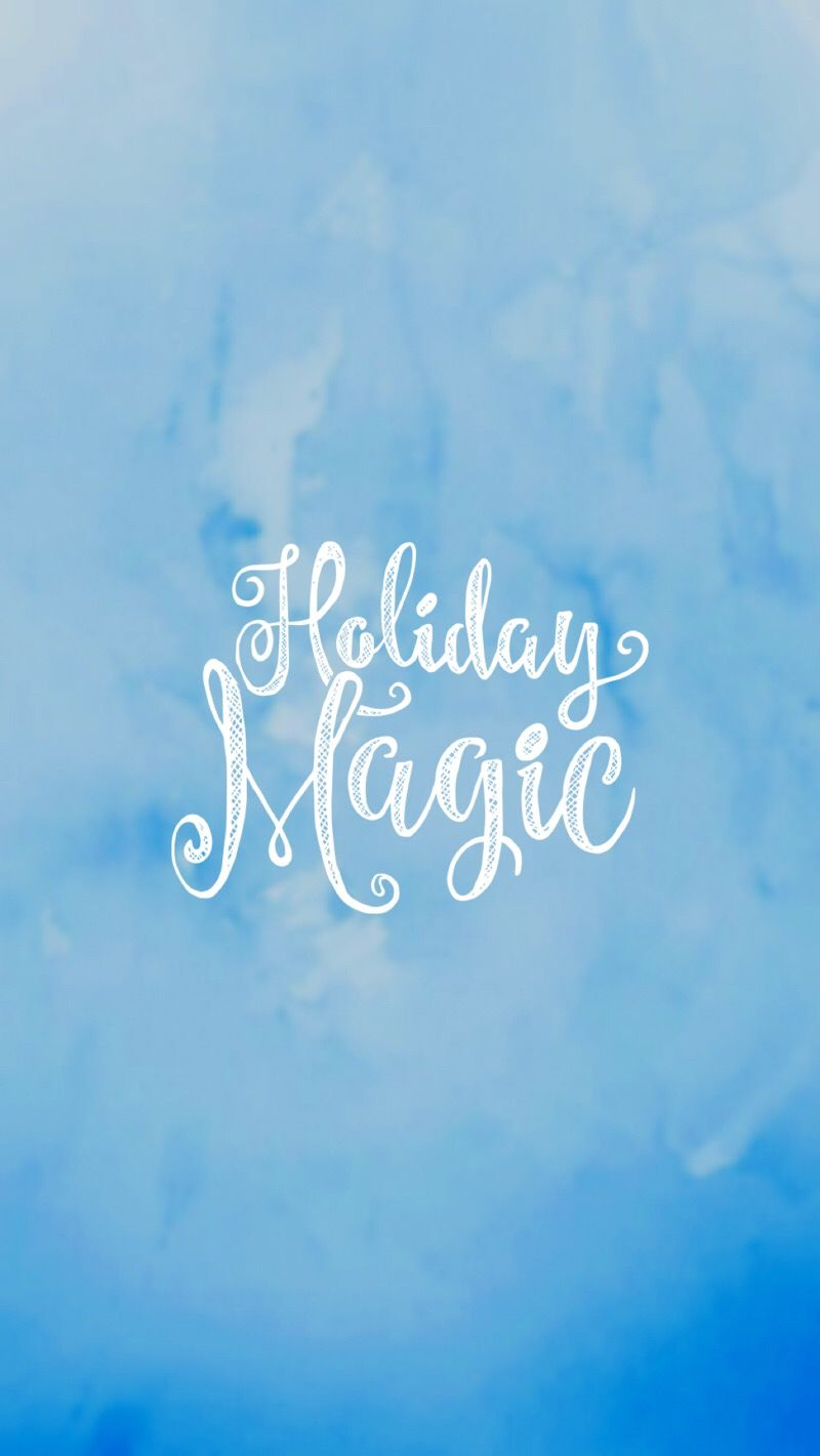 Holiday Magic On Beautiful Iceland Blue Watercolor Wallpaper