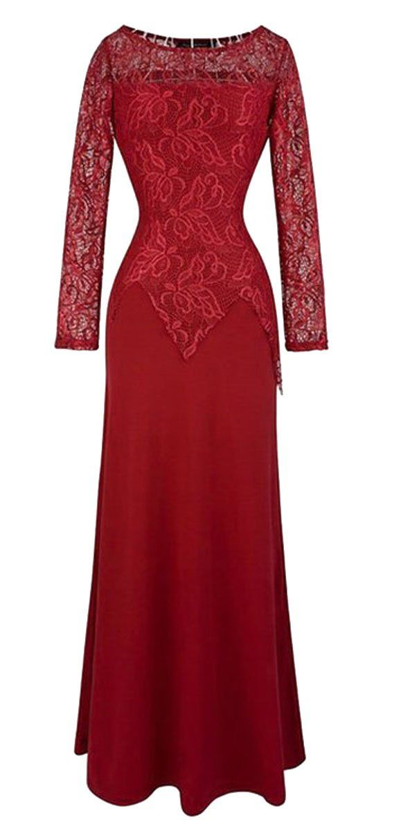 FORTRIC Women's Elegan Long Sleeve Blue Lace Bridesmaid Maxi Dress (Small, Black)