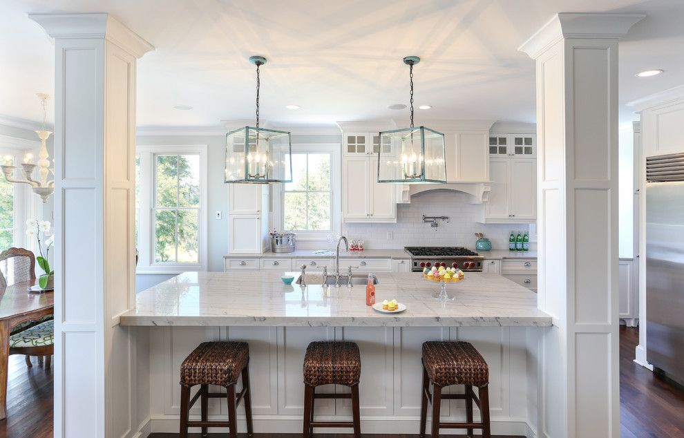 White Macaubas Quartzite Kitchen Traditional With Ceiling Flush Cabinets  Beach
