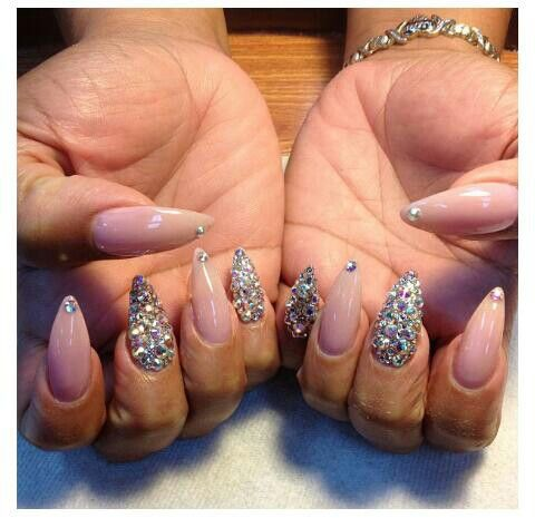 Nail Art Designs Stiletto Nails Rhinestones Ombre