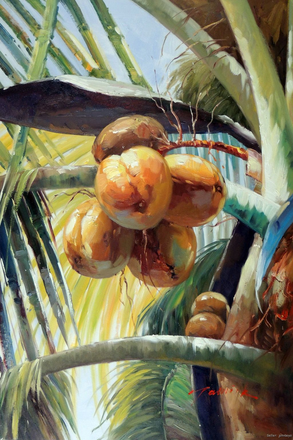 Palm Tree Oil Paintings | ... Palm Tree Tropical Florida Caribbean ...