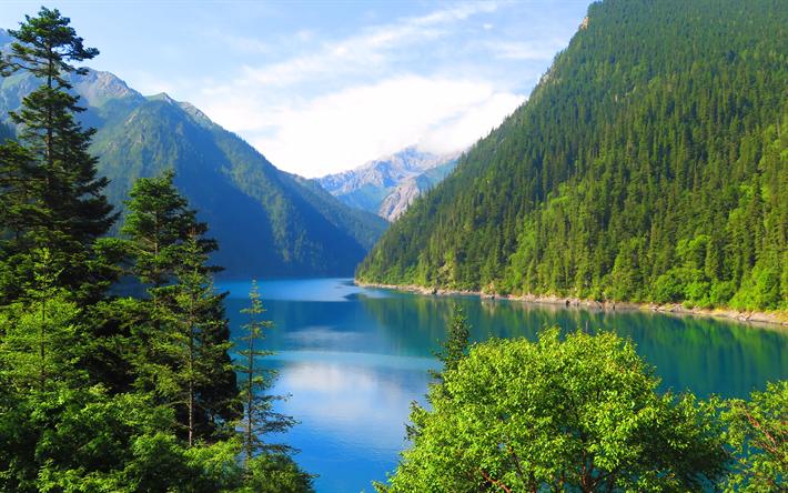 Scarica Sfondi Lago Di Montagna 4k Cina Paesaggio Di Montagna Il