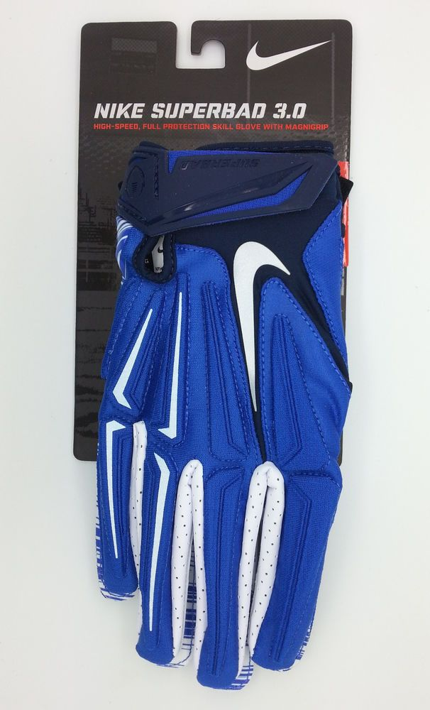 save off 36e2d 9bdc2 NIKE SUPERBAD 3.0 LOCK UP LOGO BLUE WHITE FOOTBALL GLOVES PAIR (XL) -- NEW   Nike