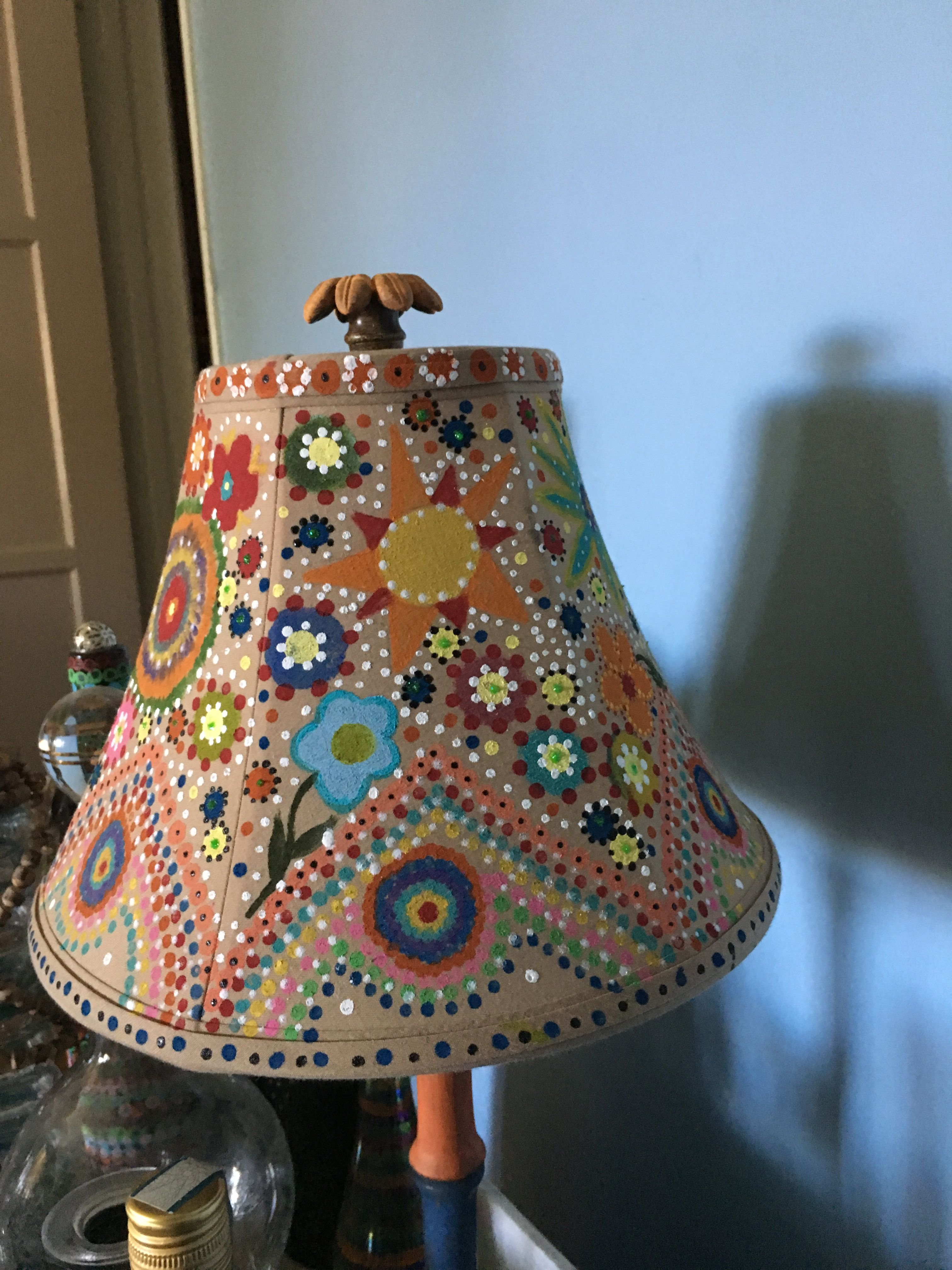 Funky Bohemian Hippie Painted Lampshade Funky Lamps Funky Lamp Shades Painting Lamp Shades