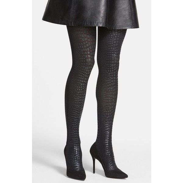 Women S Hue Coated Python Pattern Tights 20 Liked On Polyvore Featuring Intimates Hosiery Tights Hue Stocki Patterned Tights Black Tights Womens Tights