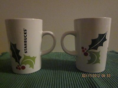 STARBUCKS COFFEE CUP MUGS CHRISTMAS MATCHING PAIR NEW RARE