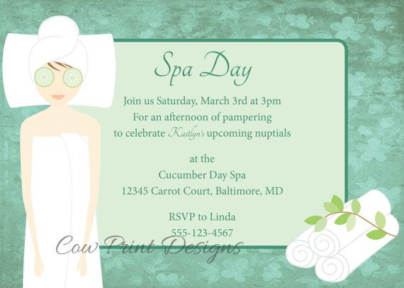 Spa Day Invitation Spa Bachelorette Party Invite Spa Invite Diy