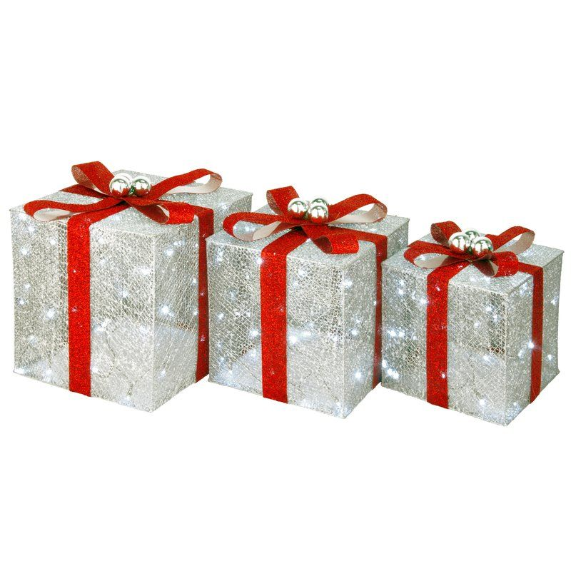 3 Piece Pre Lit Assorted Gift Box Set Silver Gift Box Assorted Gift Champagne Gift