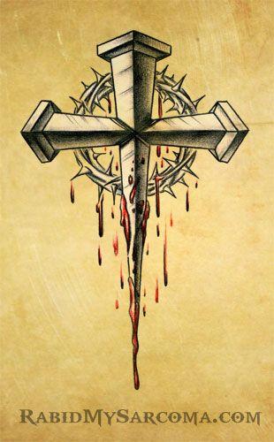 Image Cross Flash Crown Thorns Tattoo