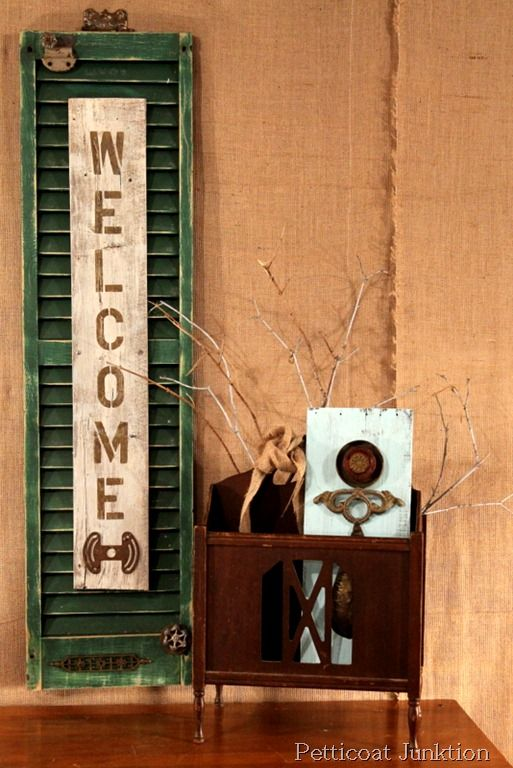 Reclaimed Wood Shutter Welcome Sign, Petticoat Junktion - Welcome Shutter Sign From Reclaimed Junk Items Wood Shutters
