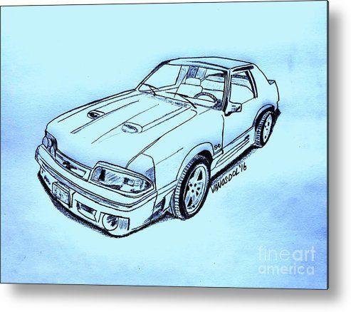 1987 Mustang Gt 5 0 Blue Background Metal Print By Scott D Van Osdol In 2020 Fox Body Mustang Mustang Drawing Car Drawings