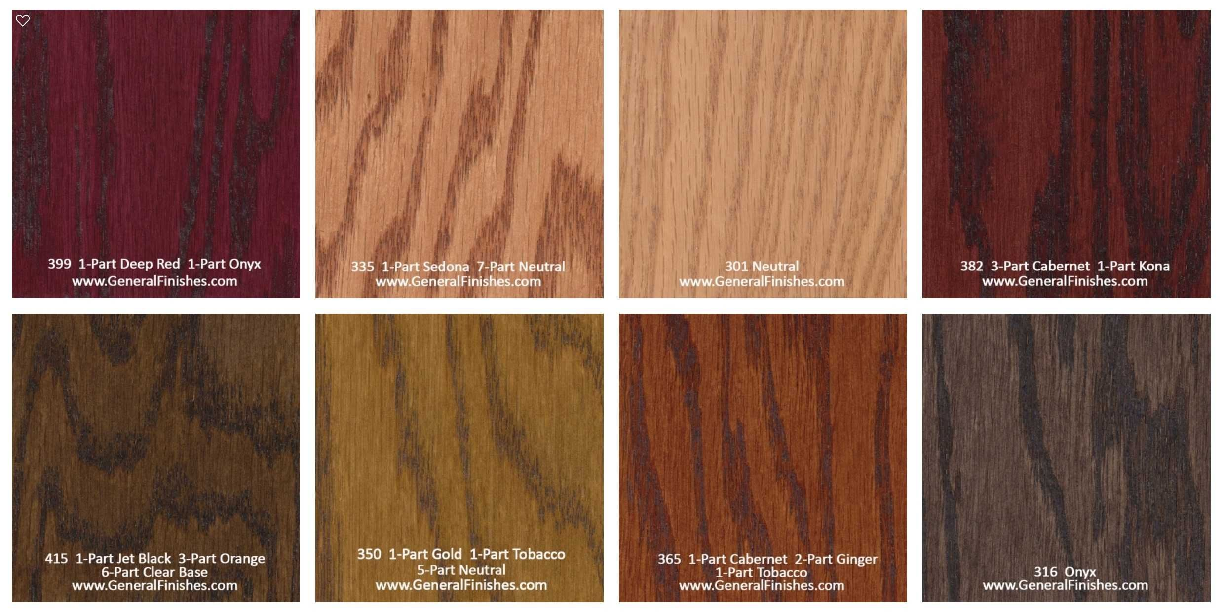 General Finishes Pro Floor Stain Color Swatch Chart For Hardwood Flooring