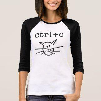 ctrl+c (Cat) – Copycat Women's Rebus 3/4 Sleeve Raglan Tee Shirt White/Black