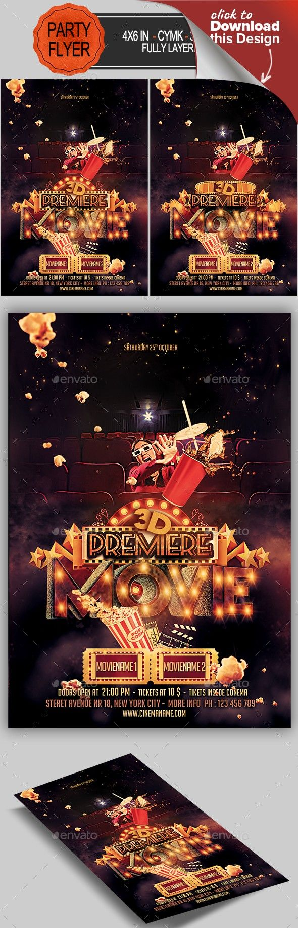 Premiere Movie Flyer | Flyer template, Template and Fonts