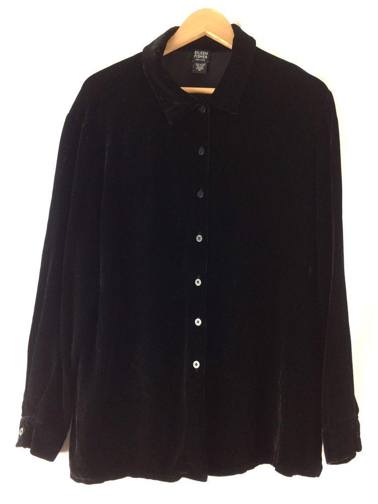 640a40674a2b5 Eileen Fisher Black Velvet Top Medium Women Button Down Shirt Rayon Silk 10  12