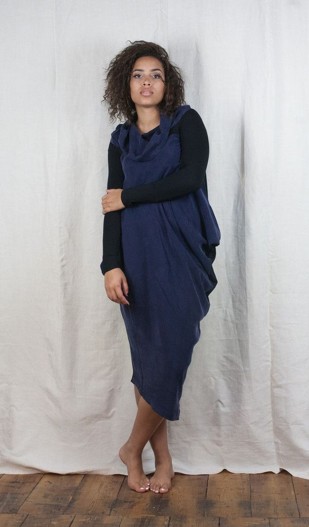 Xenia Design Cowl Neck Two Tone Dress - Navy http://www.bluewomensclothing.co.uk/collections/xenia-design/products/xenia-design-cowl-neck-pegged-dress-navy