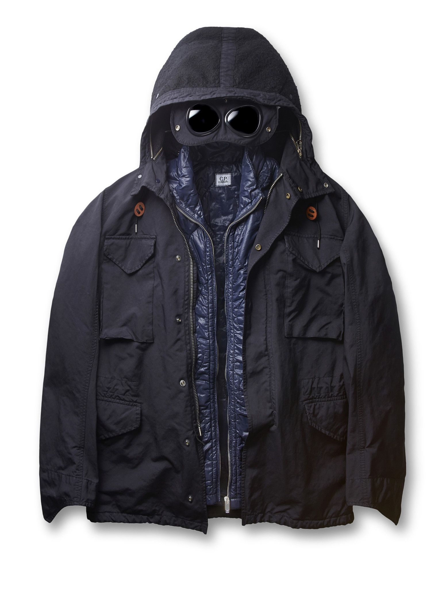 Japanese Micro Fibre Goggle Field Jacket in Navy Blue