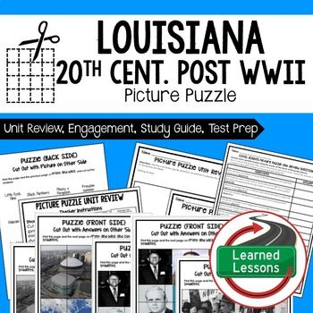 louisiana 20th century post wwii picture puzzle test prep unit rh pinterest com Science Study Guide Math Study Guide