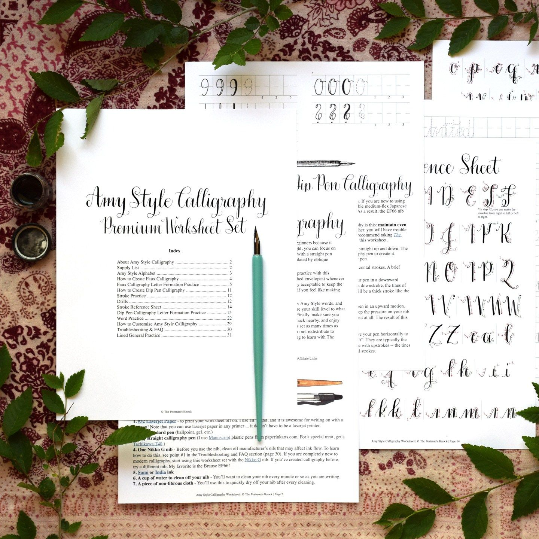 Printable Calligraphy Worksheet Set