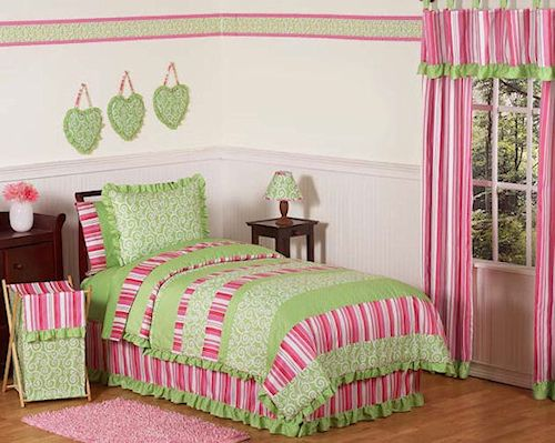 pink lime green girl comforter sets twin full  queen