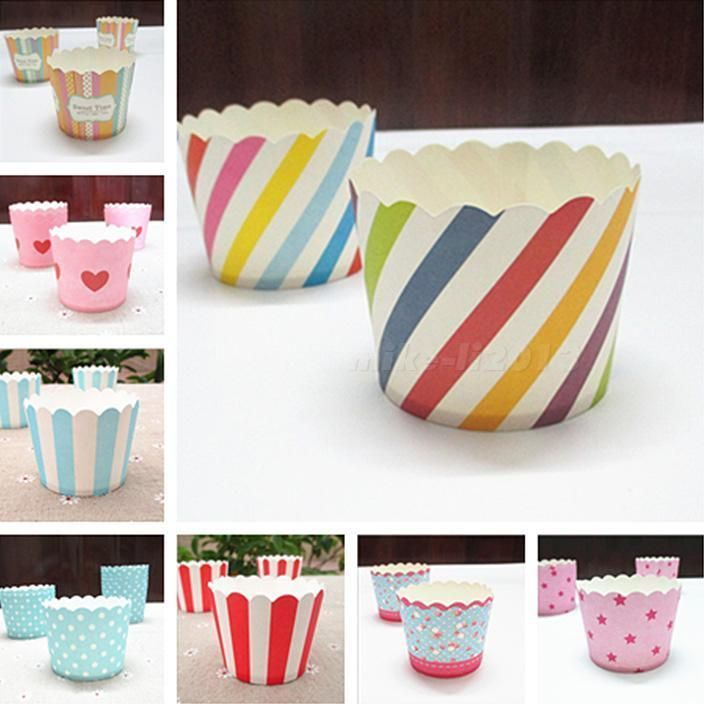 50Pc/Set Vogue Cake Baking Paper Cup Cupcake Muffin Cases Cups Home Party Mklg