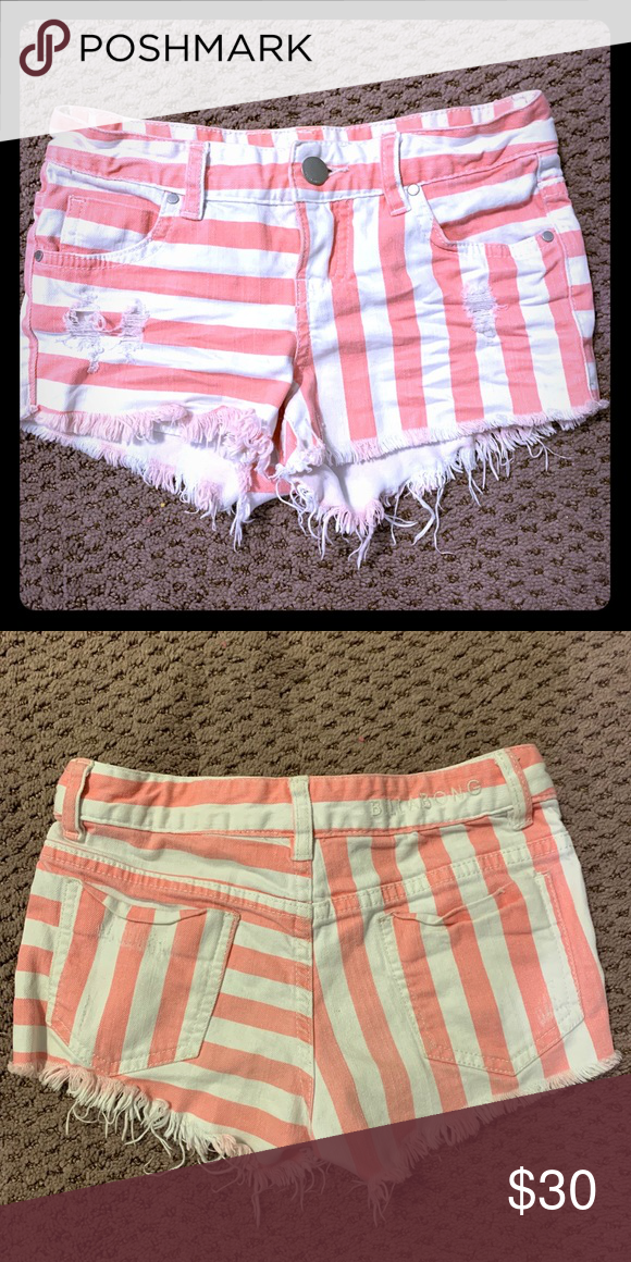 Billabong pink striped shorts girls size 10 (With images