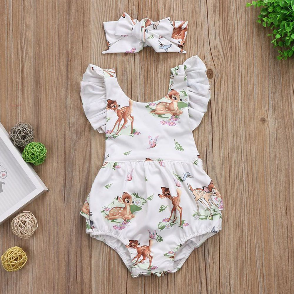 4e6bbd91e122 Baby Girls Romper   Headband Infant Kids Summer Floral Deer Cotton ...