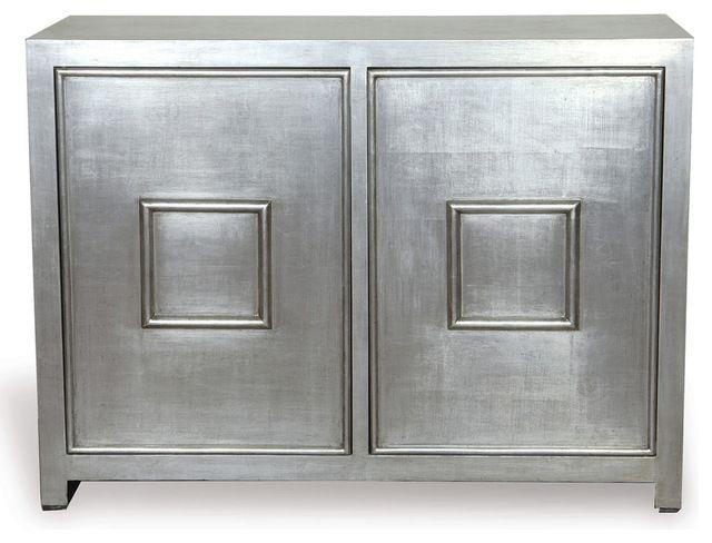 Park Avenue Hollywood Regency Style Silver Leaf Cabinet