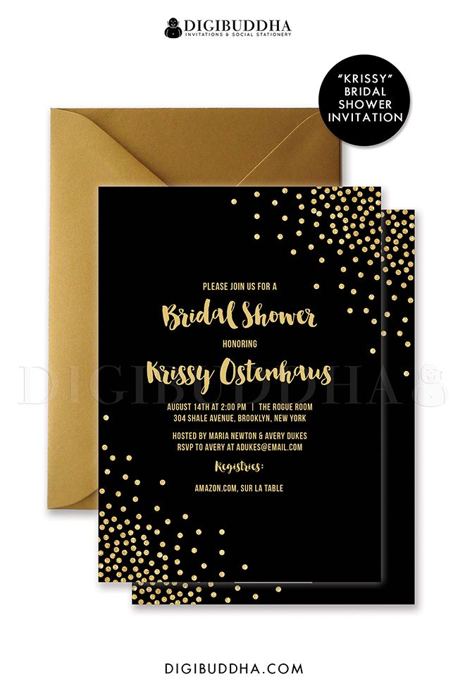 0e8a239d7a7 Glam black and gold glitter sparkle bridal shower invitation in chic glam  gold glitter confetti and