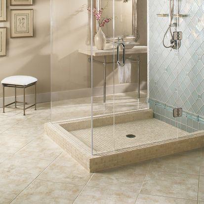 This American Olean Bathroom Features Serramonte Tile In