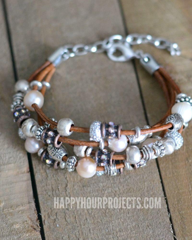 Leather Pewter Diy Bead Bracelet