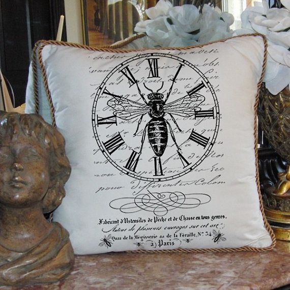 Tea Towels Pillow Talk: French Collage Bee Clock Queen Crown Script Address
