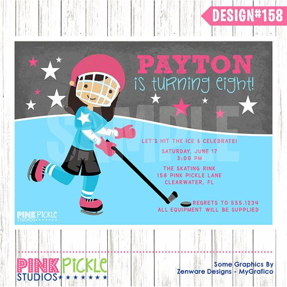 HOCKEY GIRL INVITATION or Thank You Card by PinkPickleParties - hockey templates free