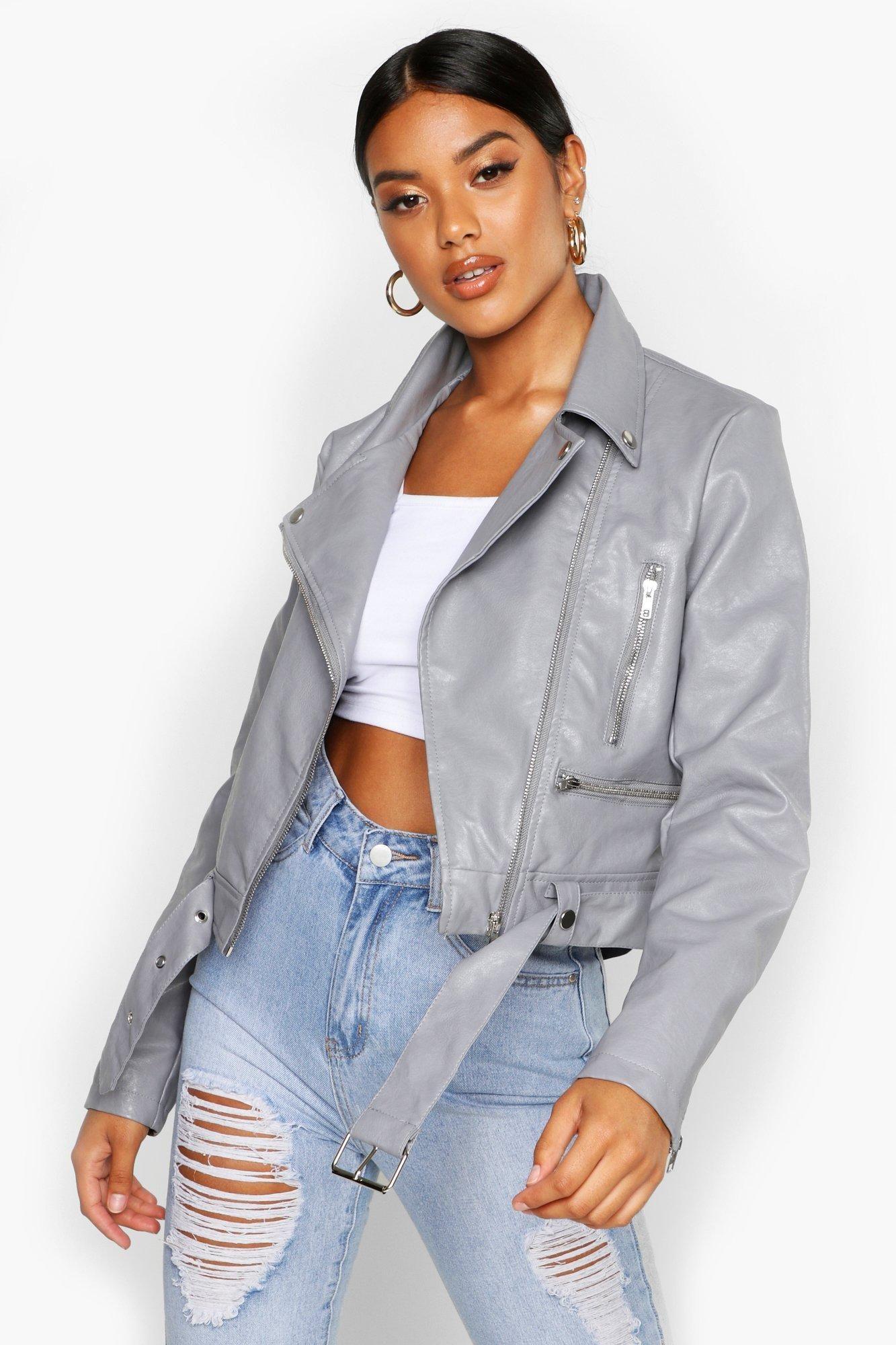 Faux Leather Biker Jacket boohoo Grey leather jacket