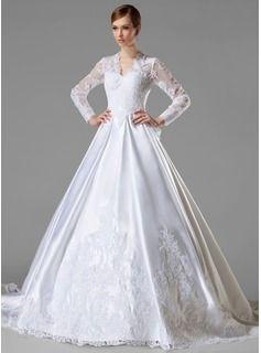 4336d52a9 Corte A Princesa Escote en V Cola catedral Satén Vestidos de novia con  Volantes De encaje (002004745)