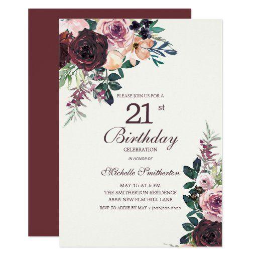 Burgundy Blush Pink Floral Leaves 21st Birthday Invitation Zazzle Com In 2021 21st Birthday Invitations 16th Birthday Invitations Birthday Invitations