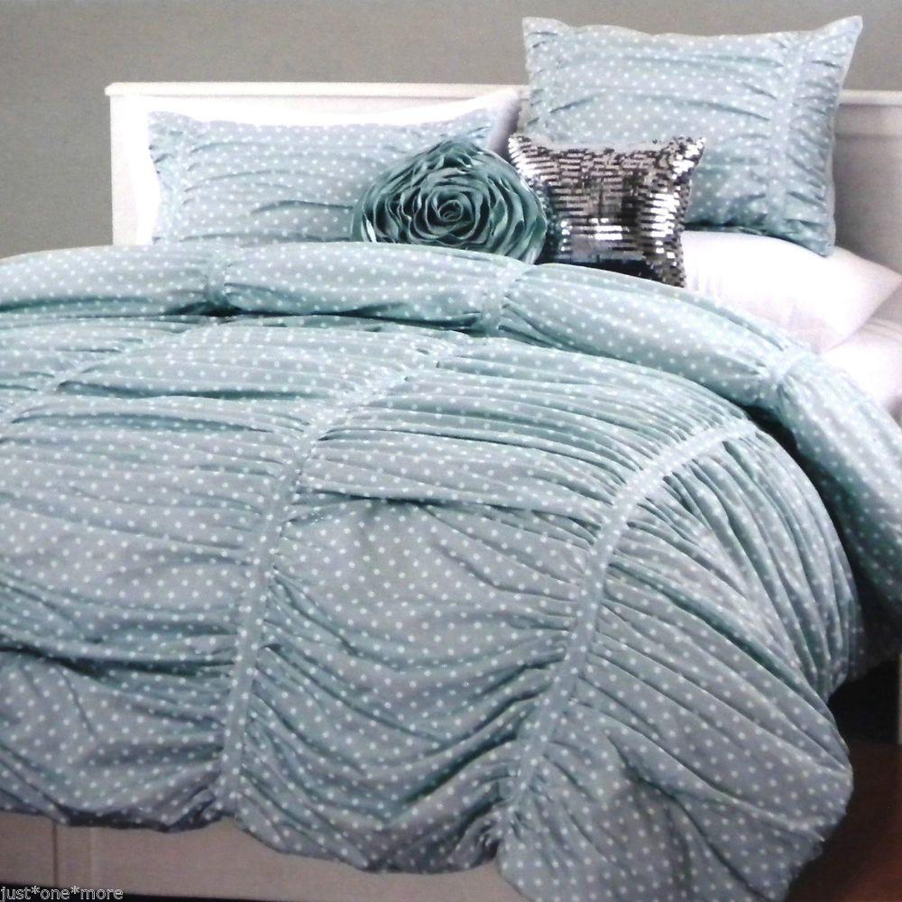 Polka dot bed spreads - Twin Xl Aqua Ruched Polka Dot Duvet Cover Sham 2pc Set Cynthia Rowley College