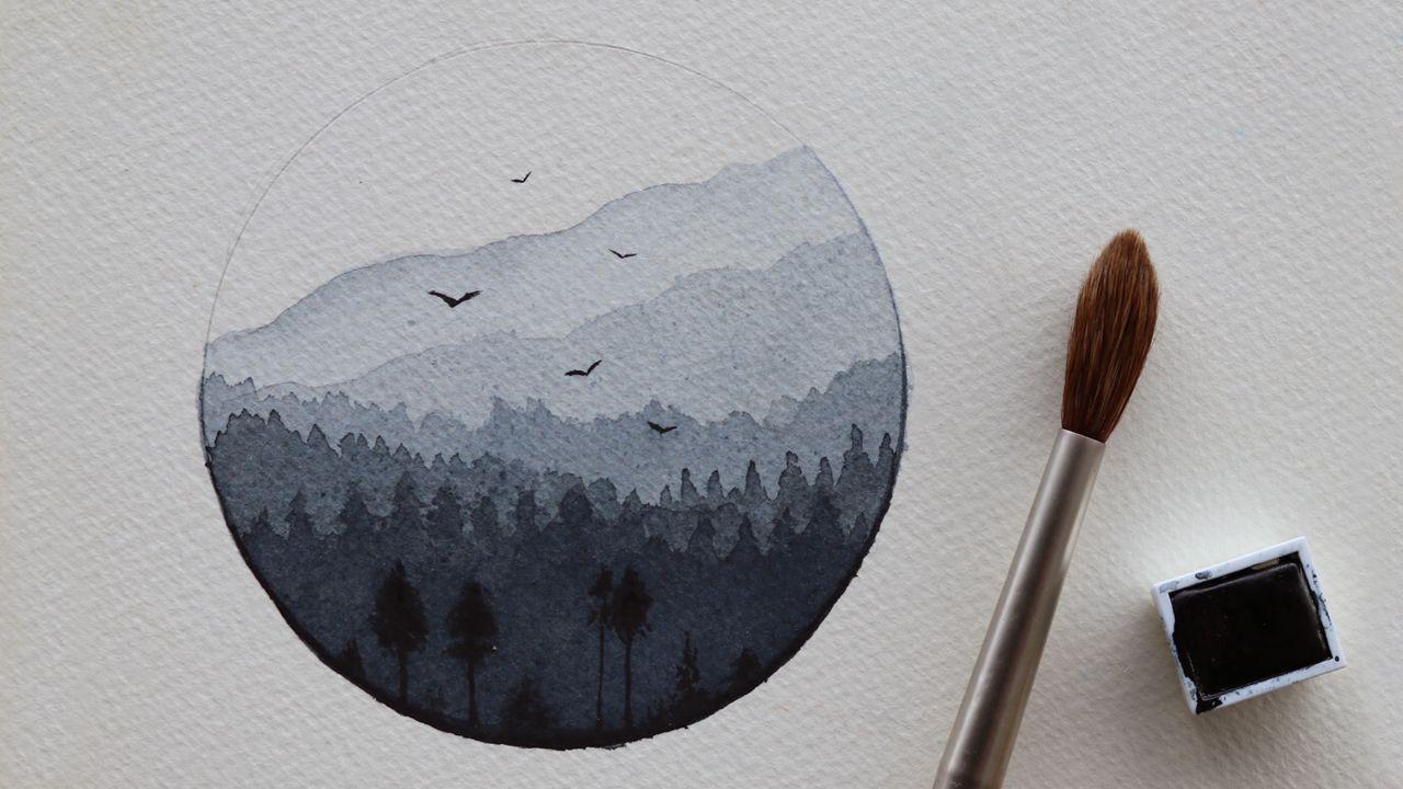 تعليم الرسم بالالوان المائية كيف ترسم منظر طبيعي بسيط جدا بلون واحد فقط تعلم الرسم رسم منظر طبيعي الوان مائية Art Drawings Instagram Story