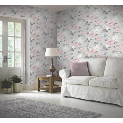 Renoir blush grey wallpaper at homebase be inspired and for Homebase bedroom inspiration