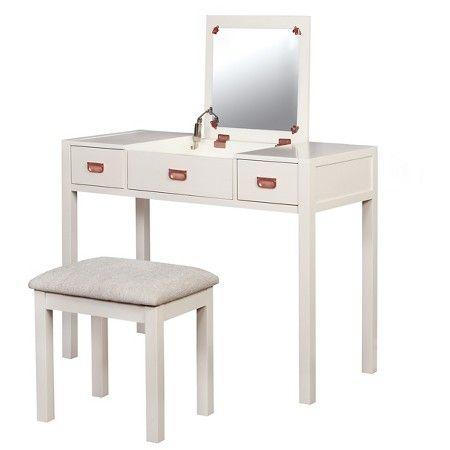 Audrey Vanity Set White Linon With Images Vanity Set Vanity Table Modern Makeup Vanity