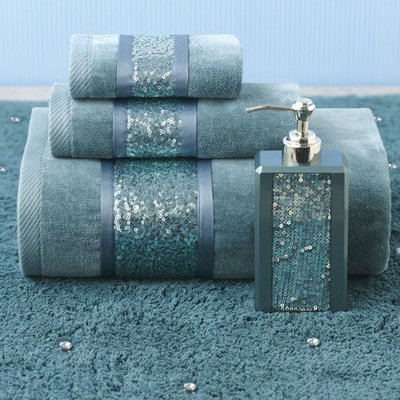 Shimmering Sequins Grace The Band Of This Luxurious Sequin Shimmer Teal Bath Collection Featuring Drenched Cotton Sheered Towels