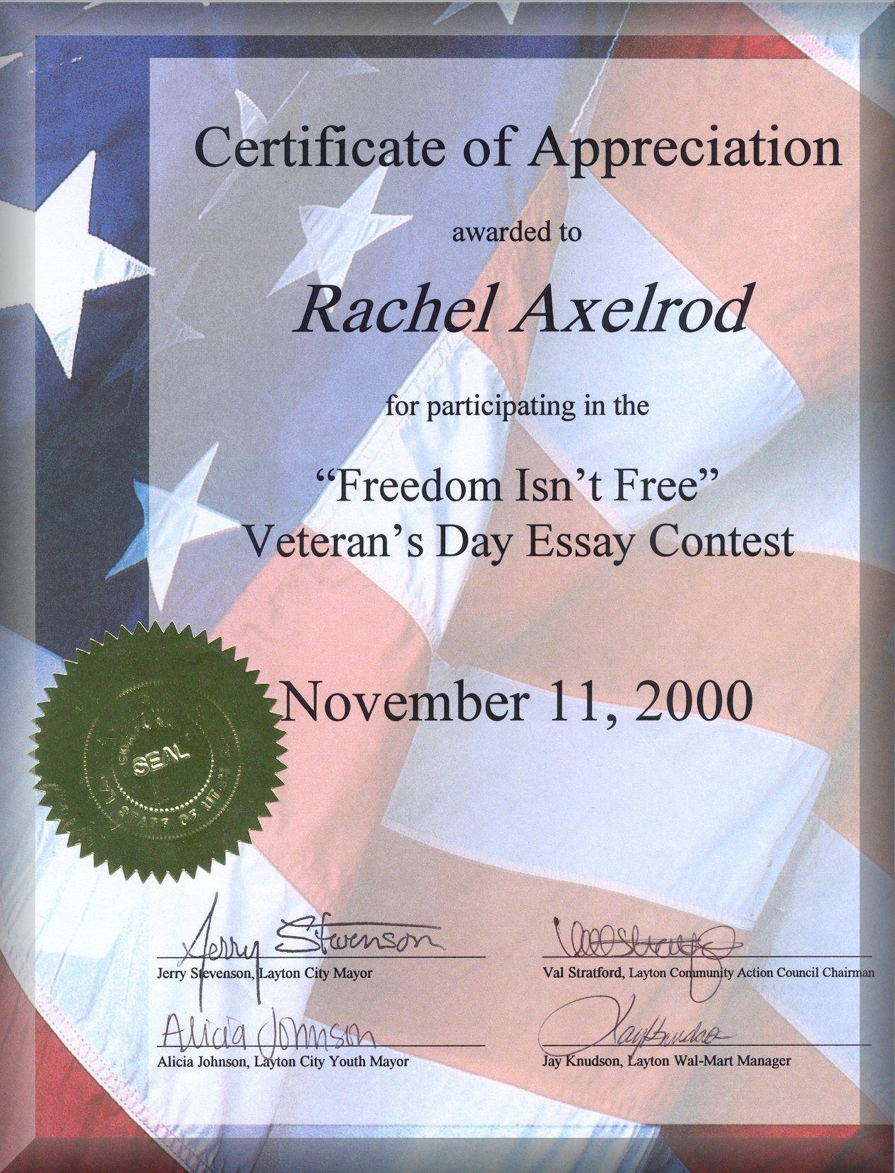 Veteran Certificate Of Appreciation Printable Related