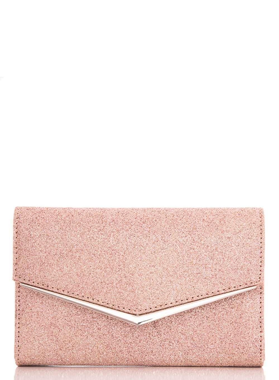 c701a6c328 Womens  Quiz Rose Gold Glitter Clutch Bag- Rose Gold