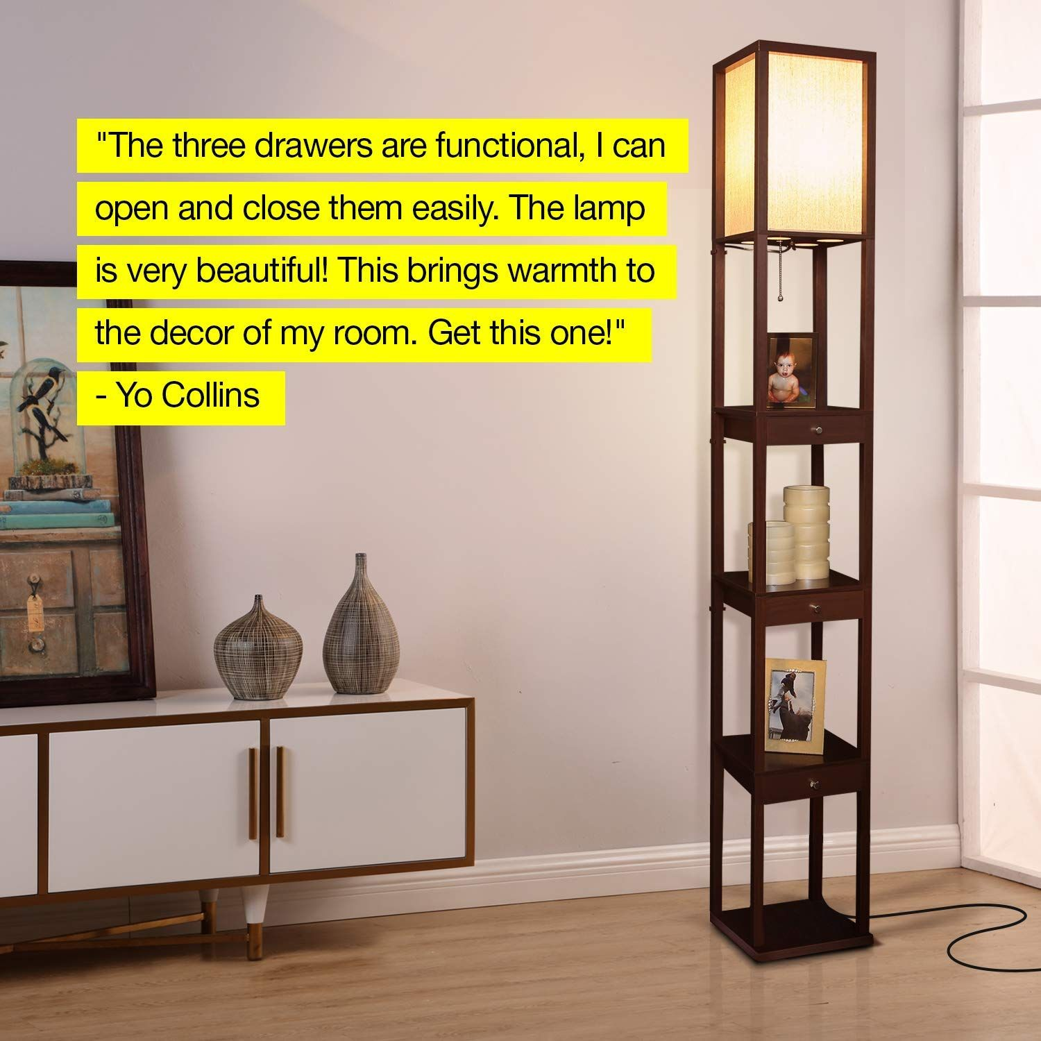 3IN1 WOODEN LAMP, DRAWERS & SHELVES Brightech's tall