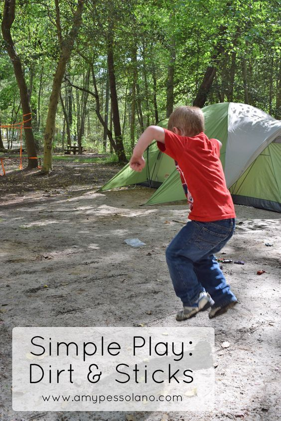 Need to keep antsy kids busy at the campsite? Try these simple play ideas to keep kids entertained on a camping trip with just dirt and sticks.