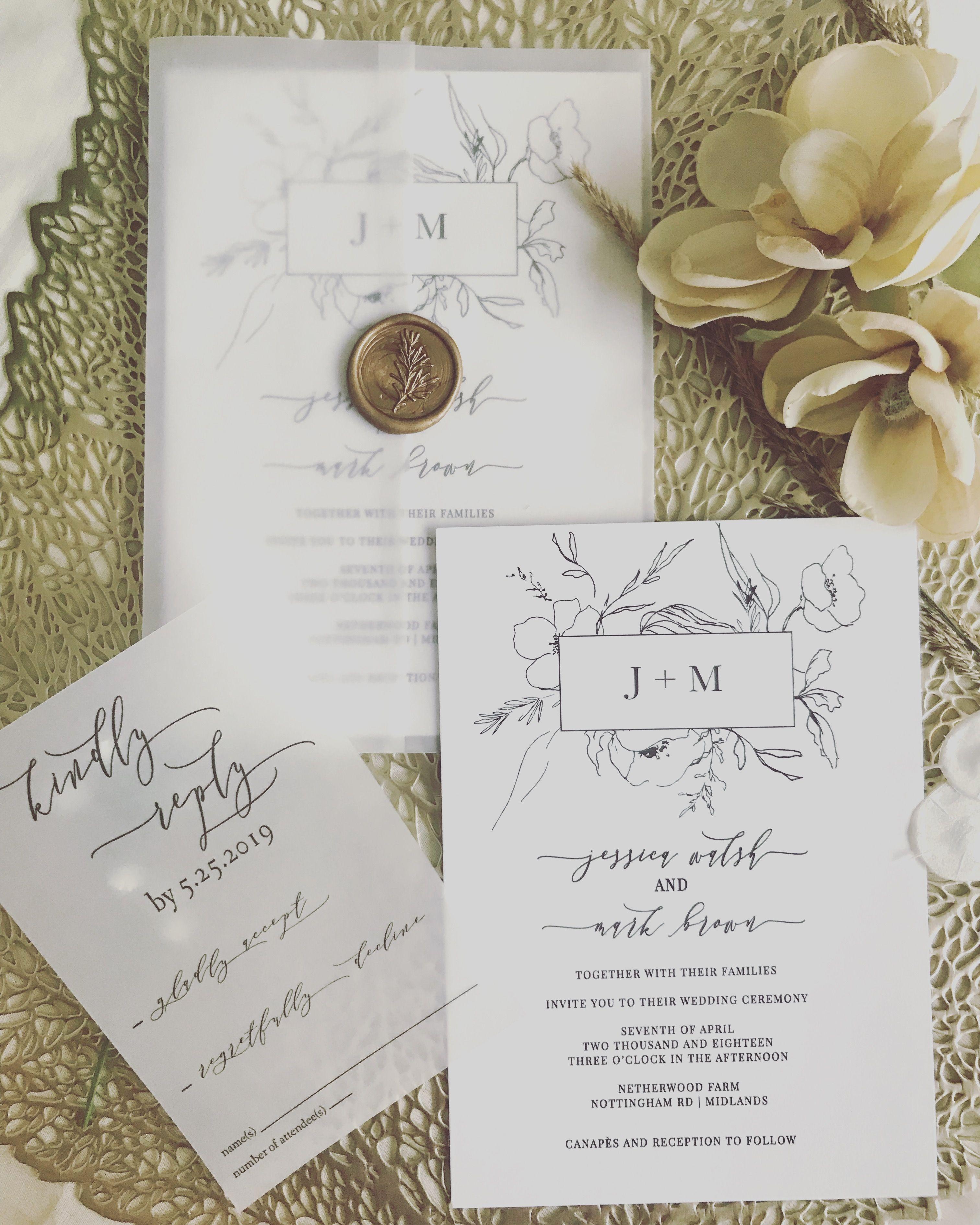 Vellum Wrap Botanical Invitations With Wax Seal Modern Wedding Invitations Cheap Wedding Invitations Wedding Invitation Trends Botanical Invitations