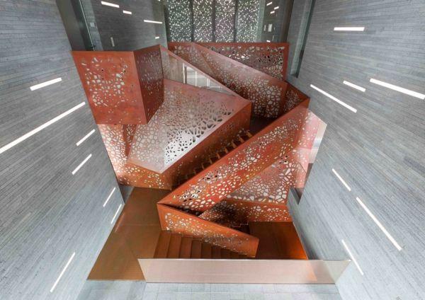 kupfer treppe gelöchert beleuchtung glasfasern stufen bauholz