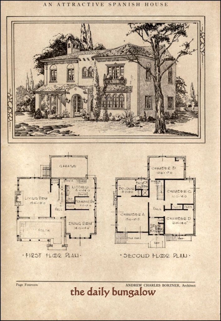 Andrew Charles Borzner 1928 Beautiful Homes Spanish Style Homes Pueblo Style House House Plans