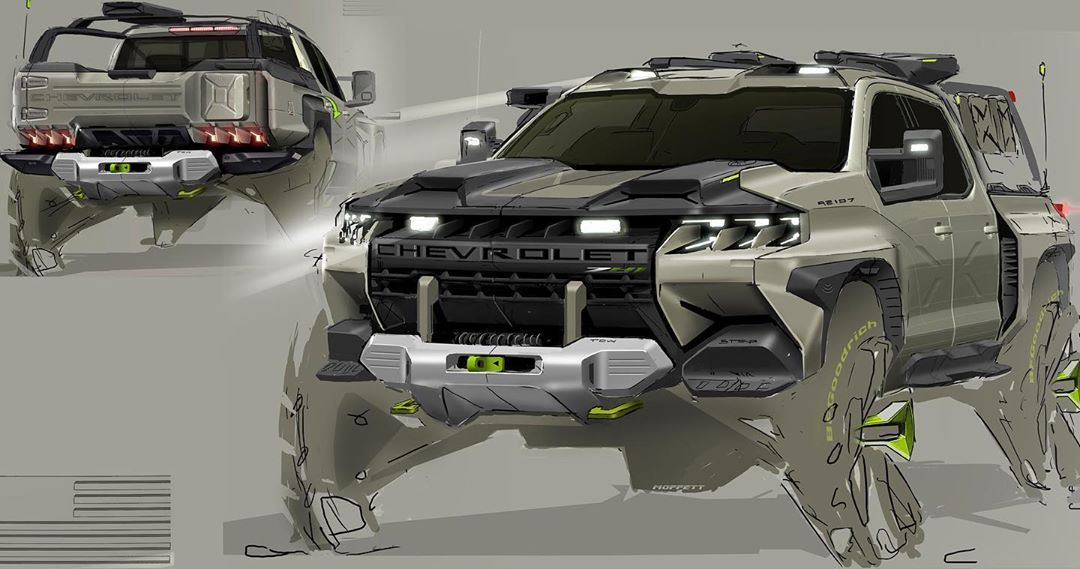 GM Design on Instagram: An incredibly tactical Chevy truck concept by Designer T. Moffett. #GMdesign #design #cardesign #cardesignsketch #cardesignworld